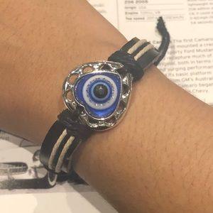 Adjustable Black Leather Bracelet Evil Eye